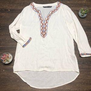 Zara Basics Boho chic Embroidered Tunic Top Small